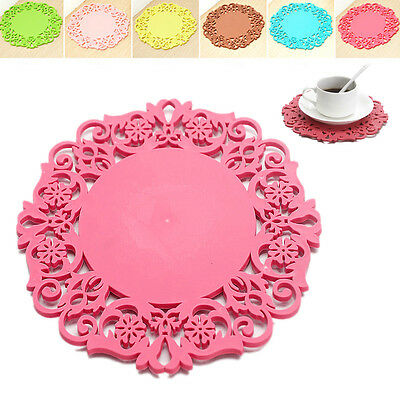2Pcs Candy Color Non-slip Table Mat Heat Resistant Silicone Tea Cup Pad