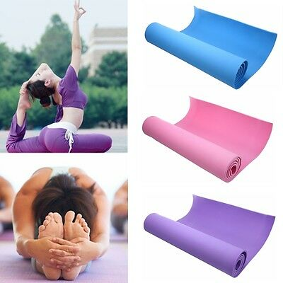 Portable Yoga Mat Exercise Pad 6MM Thick Non-slip Gym Fitness Pilates Supplies D