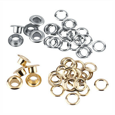 100pcs 5mm Round Metal Eyelets Grommets w/ Washers Set Leather Craft DIY Sewing