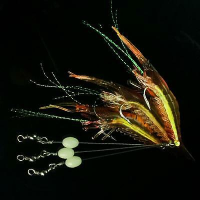 5Pcs Luminous Fishing Lure Simulation Shrimp Prawn Soft Bait Fishing Hook New