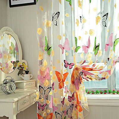 Butterfly Sheer Voile Curtain Door Window Room Panel Divider Drape Home Decor