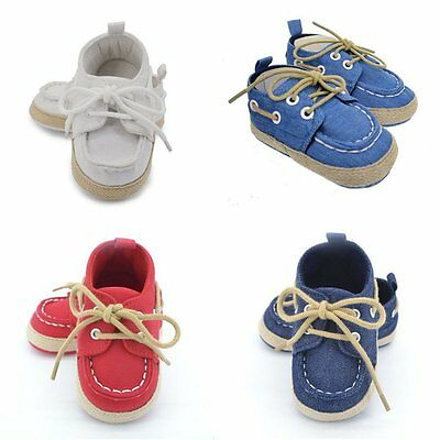Toddler Boy Girl Soft Sole Crib Shoes Baby Kid Lace-up Cotton Prewalker Sneakers