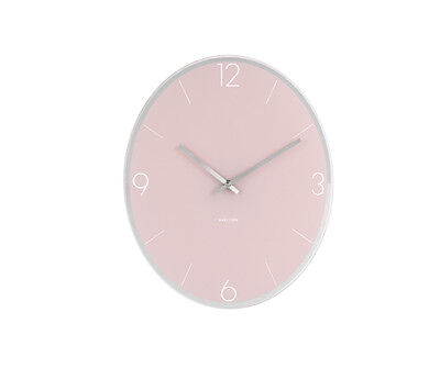 Karlsson Wall Clock Elliptical in Pink With Polished Glass Face