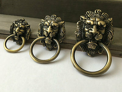 Lion Head Drop Door Pull Drawer Cabinet Knobs Ring Antique Bronze Viintage Style