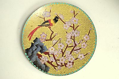 Antique Chinese Japanese Asian Canton Enamel Cloisonne Copper Plate flower bird