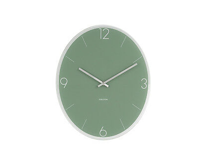 Karlsson Wall Clock Elliptical in Green With Polished Glass Face
