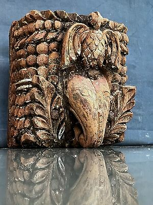 Antique/vintage Indian Lintel Support/beam End, In Teak. Architectural Salvage.