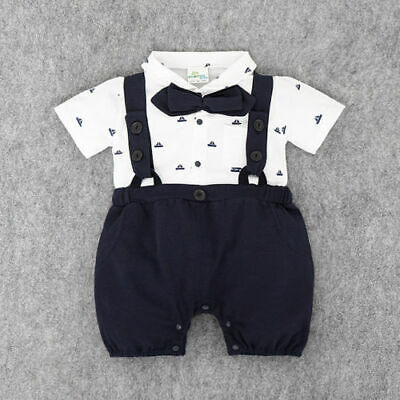 Baby Boy Wedding Christening Formal Smart Summer Outfit Romper Tuxedo Sailor Set