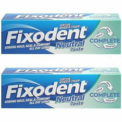 2 x Fixodent Neutral Complete Denture Adhesive Cream Strong Hold Food Seal, 47ml
