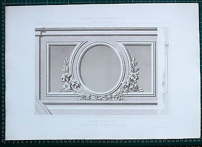 1880 French Architecture Print Style Louis Xv Vitrines Du Musee Sevres