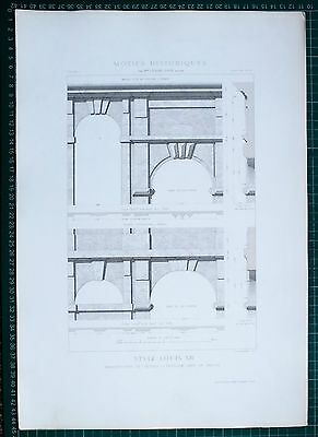 1880 French Architecture Print Style Louis Xiii Manufacture De Sevres Garden