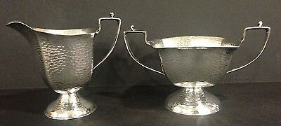 Arts and Crafts Hammered Silver Plate on Nickel Silver Cream and Sugar