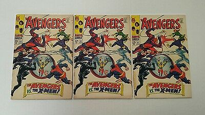 The Avengers #53 (Jun 1968, Marvel), 3 copies!, fight with X-men, Silver Age Lot • $61.61