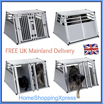 XL Large Double Dog Car Transport Box Aluminium Travel Cage Carrier Crate Pet