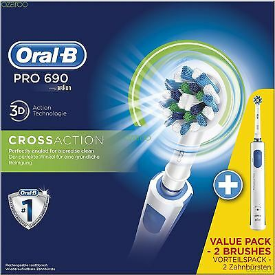 Braun Oral-B PRO 690 Electric CrossAction Power Toothbrush, Value Pack 2 Brushes