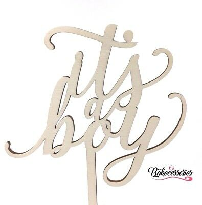 It's A Boy Wooden Baby Shower Cake Topper Surprise Decoration Baking Newborn Its