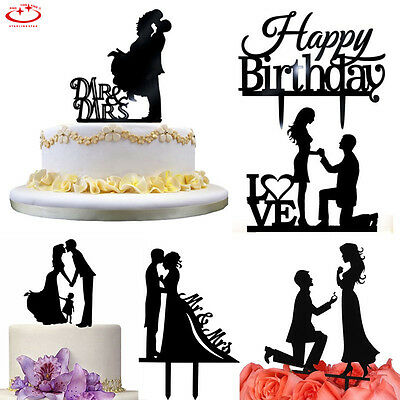 Acrylic Mr & Mrs Bride Groom Wedding Love Cake Topper Party Favors Decoration
