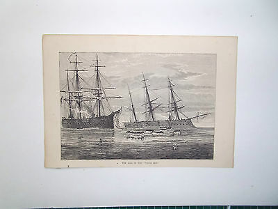 """THE LOSS OF THE"""" VANGUARD"""" SAILING SHIP-ANTIQUE PRINT DATE c1880"""