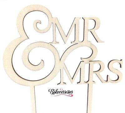 Mr & Mrs Wooden Cake Topper Celebration Baking Wedding Love Party Miss And Mr