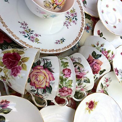 Vintage Tea Set 6 Trios Mismatched China Cups Saucers 21 Piece Pretty Pink Roses