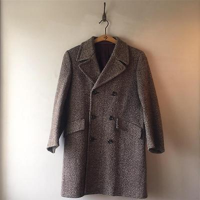True Vintage Men's 1960s Hepworths Herringbone Tweed Wool Coat Jacket 38 40