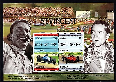 St.Vincent Grenadines 1985 Racing Cars Grand Prix Miniature Sheet Unmounted Mint