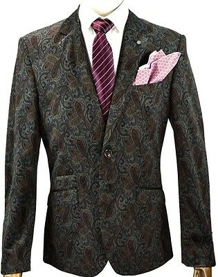 Men's Grey & Navy Vintage Paisley Velvet Blazer Jacket Formal / Casual