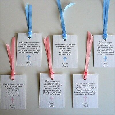 Favour Tags/Labels Christening/Baptism/Naming Choice of 3 Poems Without Ribbon