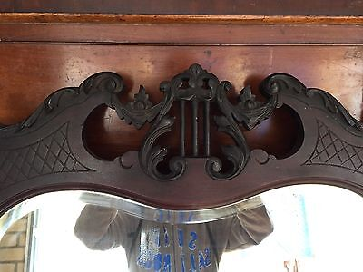 Antique Ebony Mirror With Bevelled Glass