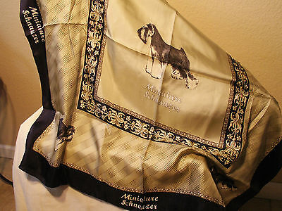 Miniature Schnauzer Dog Ladies Silk Scarf 100% Silk