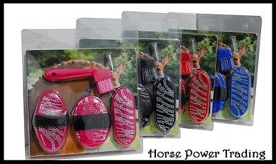 GLITTER GROOMING KIT Junior Size Tack Brush BLING 5 piece Show Horse Pony Gift