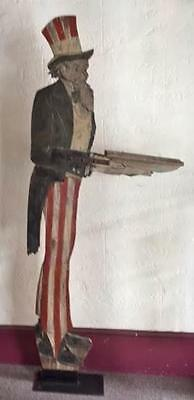 Antique Folk Art Uncle Sam Mailbox Holder in Original Paint Early 20th Century