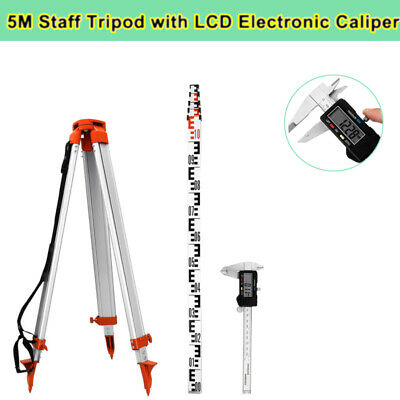 1.65M Aluminum Tripod + 5m Section Staff Set Tool For Rotary Laser Level