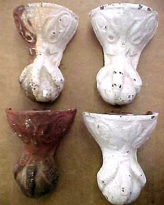 4 Antique Victorian Ball Eagle Claw Foot Bath Tub Feet Cast Iron Vintage