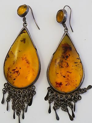 """Rare Antique Amber Silver Islamic Middle Eastern Earrings Huge 4 1/4""""  32 Grams"""