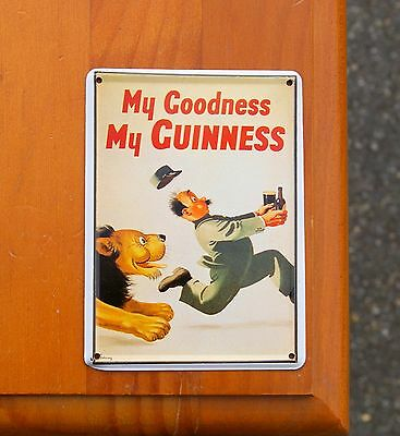 "My Goodness My Guinness Lion Beer 4 1/4"" Tin Metal Collectable Post Card Magnet"