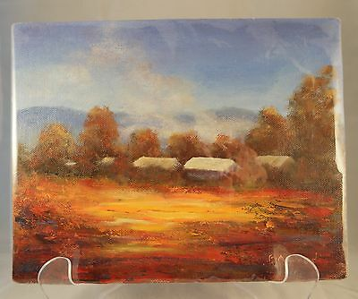 Small original oil painting of an Australian landscape by B A Wood