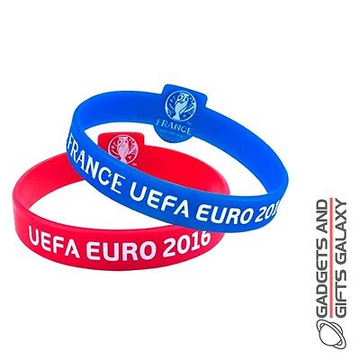 EURO 2016 2 PACK SILICONE WRISTBANDS OFFICIAL LICENSED football gift souvenir