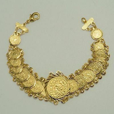 Gold Saudi Arabia Islamic Coin Bracelet 17 coins Ornate Middle East Ancient