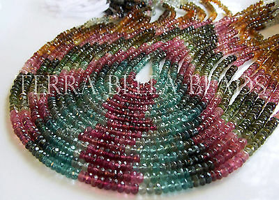 "13"" AAA WATERMELON TOURMALINE faceted gem stone rondelle beads 3.5mm - 4mm multi"