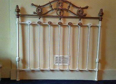 Victorian cast iron and brass double bed head