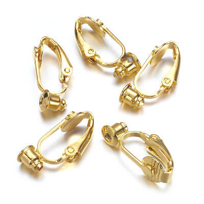 10pcs Gold Tone Brass Clip-on Earring Blanks Nickel Free Converter Findings 19mm