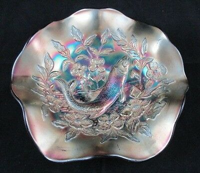 Millersburg Carnival Glass Big Trout Fish Amethyst Iredescent Ruffle Dish Bowl