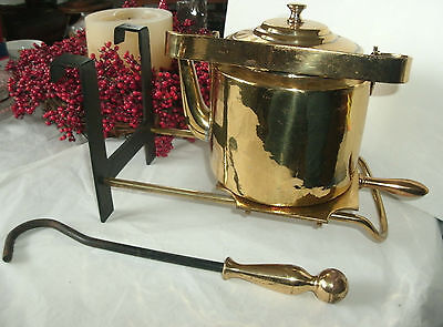 Antique Brass Hearth Fire Place Warming Plate Stand/bracket , Kettle, Pull Tool