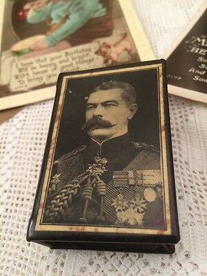 WW1 Vintage Celluloid Memorial Matchbox Holder/Cover Lord Kitchener 1916