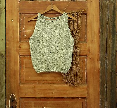 vintage 1980s cream & black speckled sweater tank top S M