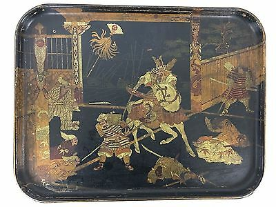 Japanese Lacquer and Gilt Tray, 19th Century Samurai Scene