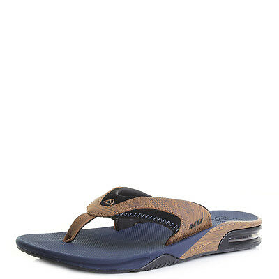 951bb23bfbe2d Mens Reef Fanning Prints Navy/Wood Toe Post Sandals Flip Flops Shu Size