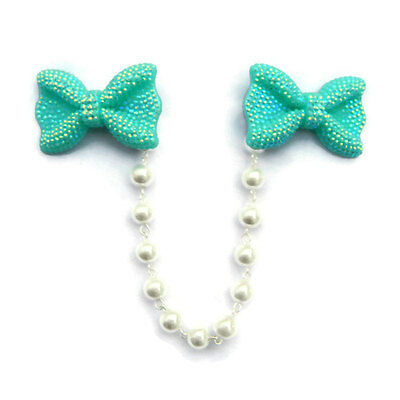 Iridescent Aqua and White Pearls Sweater Clip