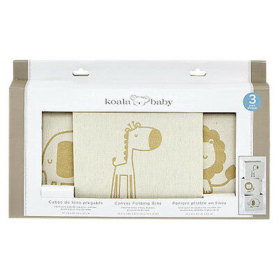 Koala Baby 3 Pack Gold Animal Canvas Bins - NEW